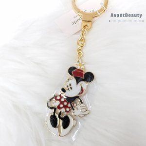 KATE SPADE MINNIE MOUSE KEY FOB KEY CHAIN GOLD RED
